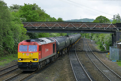Class 60 No 60017 at Ravensthorpe on 8 May 2014 with the 6E32 09:56 Preston Docks Lanfina – Lindsey Oil Refinery