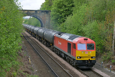 Class 60 No 60024 at Oakenshaw Junction on 7 May 2014 with the 6E32 09:56 Preston Docks Lanfina – Lindsey Oil Refinery