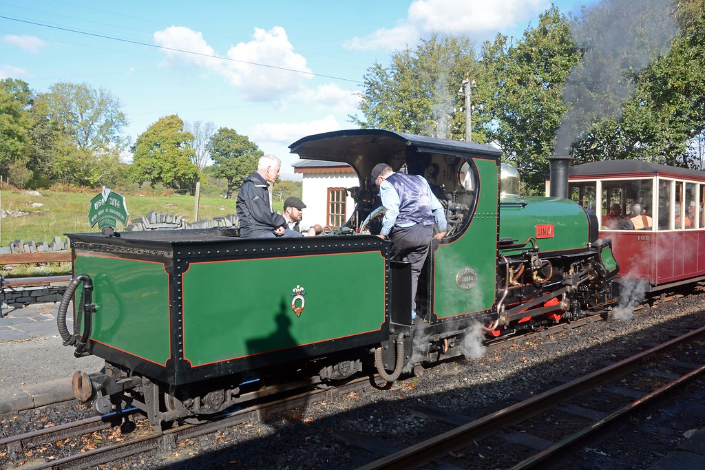 Originally an 0-4-0ST Linda was reconfigured as a 2-4-0 and had a tender added to make here a 2-4-0STT. When I first rode the Snowdonian in 2012 Linda and her sister Blanche, both oil fired back then, were the power for the first leg. They went up the hill to Blaenau like a bullet.