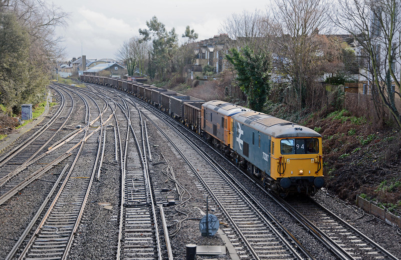 My main purpose for waiting at Wandsworth Road was to see GBRfs vintage class 73s on the 6M94 empty spoil train. They didn't disappoint.