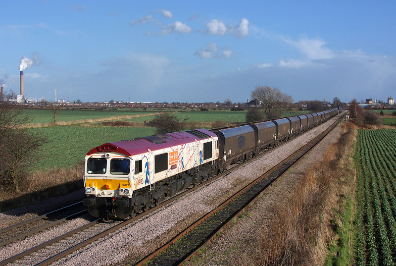 66721 'Harry Beck' races through Whitley bridge in charge of 4D21 14:35 Eggborough P.S. (Gbrf) to Doncaster Down Decoy Gbrf.27/02/2014.Sony A65.