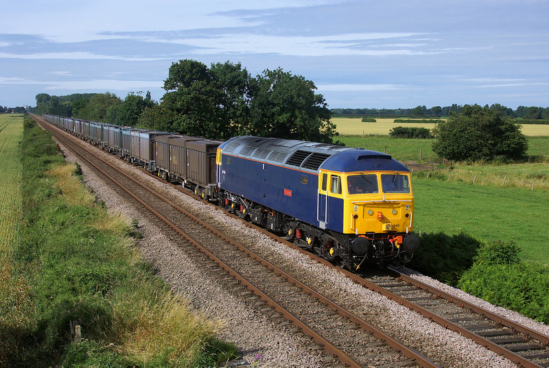 47843 'Vulcan' races south in charge of 4D95 15:00 Hull Coal Terminal (Gbrf) to Doncaster Down Decoy Gbrf Gypsum.Thanks to Olly for the heads up on the location.09/07/2014.Sony A65.