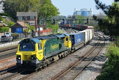 Class 70 No 70003 at Southampton on 23 April 2015 with the 4O54 06:12 Leeds F.L.T. – Southampton M.C.T.