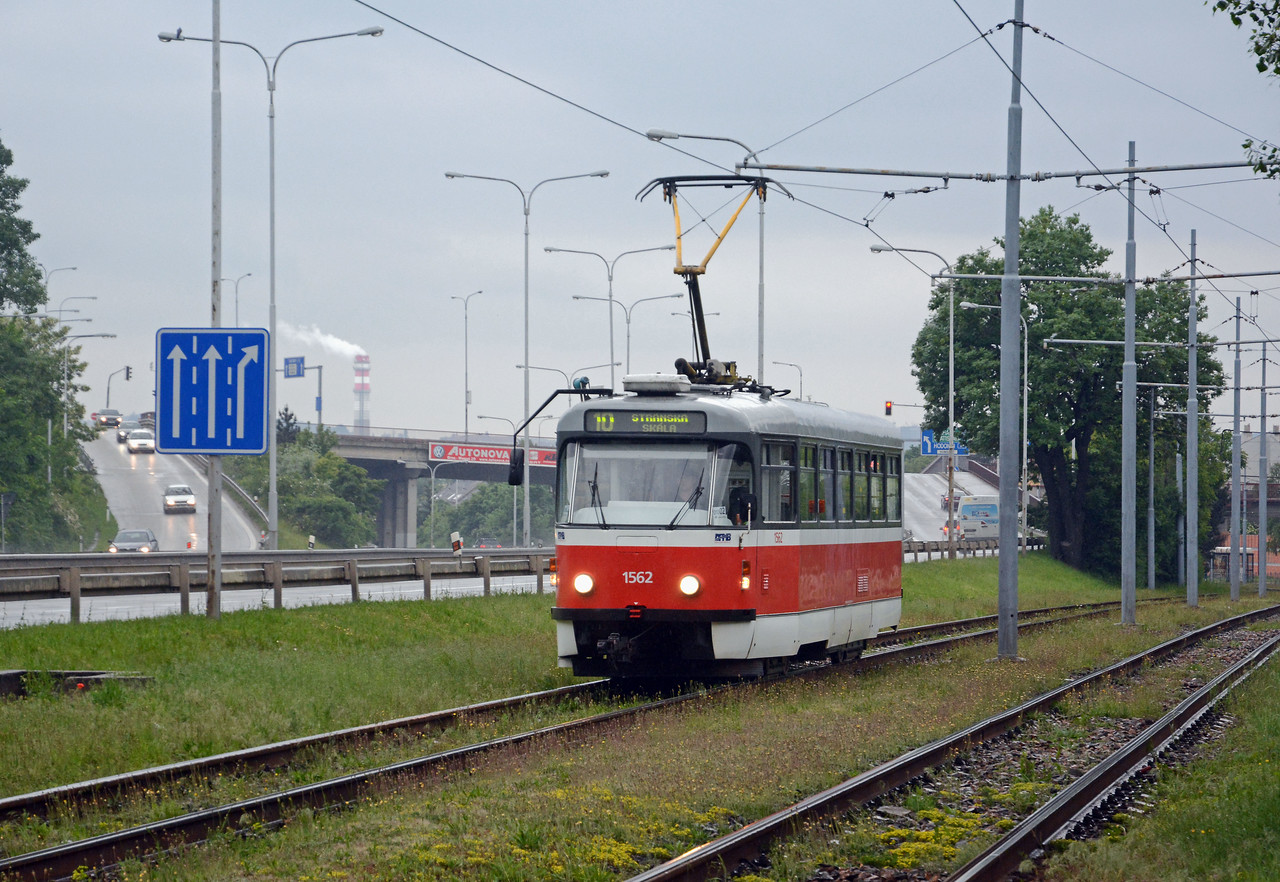 A solitary Tatra T3 on a number 10. A range of different trams turned up on the 10 route