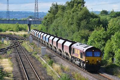 Class 66 No 66092 at Horbury Bridge on 21 August 2015 with the 4Z45 15:22 Pendleton (Brindle Heath) - Mountsorrel Sidings