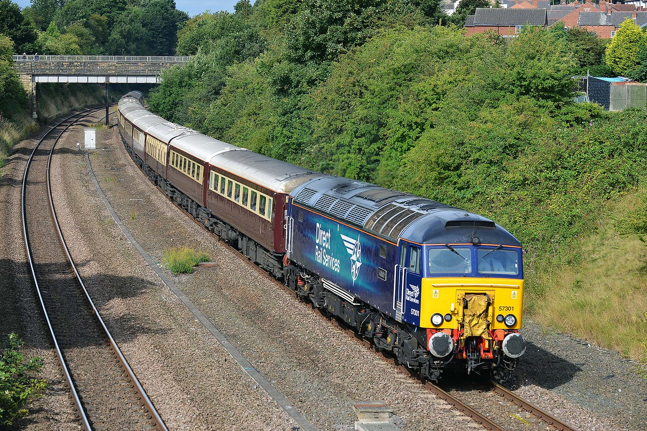 Class 57 No 57301+57310 in Horbury Cutting on 21 August 2015 with the 1Z42 07:04 Chester – Alnmouth