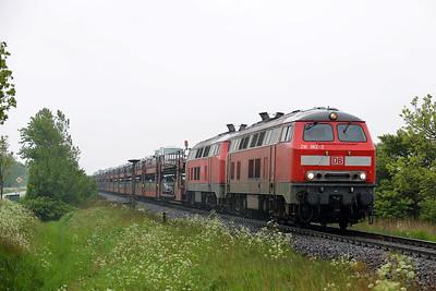 Class 218 No 218362/218342 between Niebull and Klanxbull on 31 May 2015