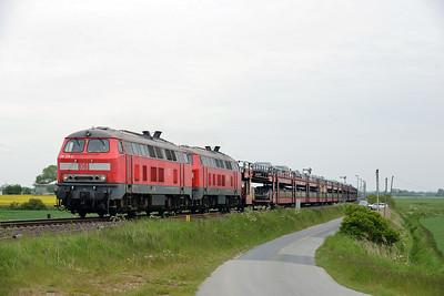 Class 218 No 218319/218314 between Niebull and Klanxbull on 31 May 2015