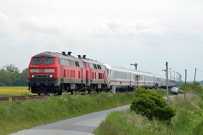 Class 218 No 218340/218397 between Niebull and Klanxbull on 31 May 2015