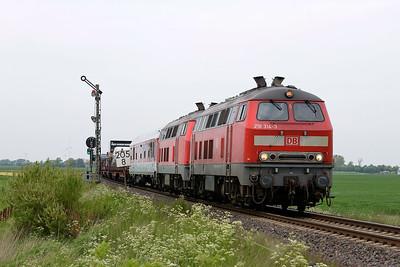 Class 218 No 218314/218319 between Niebull and Klanxbull on 31 May 2015