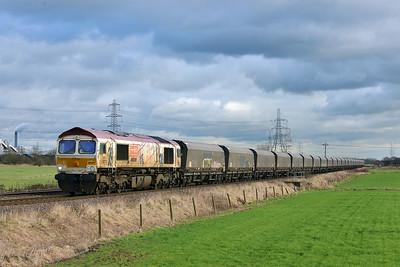 Class 66 No 66721 at Blackburn Lane, Knottingley on 6 January 2015 with the 4N61 12:45 Drax Power Station - Tyne Coal Terminal