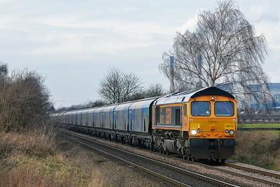 Class 66 No 66712 at Blackburn Lane, Knottingley on 20 January 2015 with the 6H30 09:49 Tyne Coal Terminal – Drax Power Station