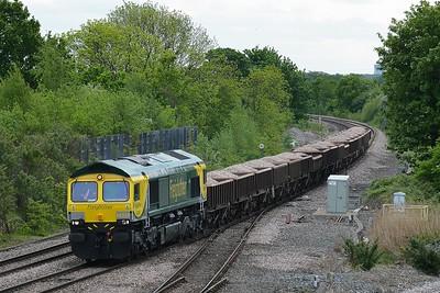 Class 66 No 66528 at Church Fenton on 22 May 2015 with the 6Z91 11:44 Mountsorrel Sidings - Tyne S.S.