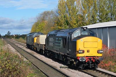 Class 37 No 37611+37608 at Sherburn-in-Elmet on 21 October with the 6Z44 07:40 Carlisle Kingmoor Sidings - Immingham Reception Sidings