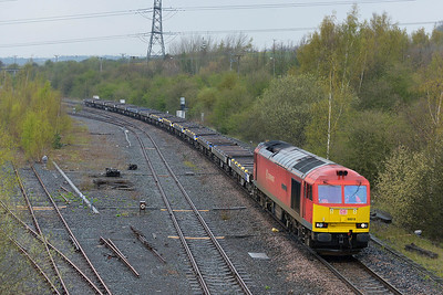 Class 60 No 60019 passing Healey Mills on 15 April 2016 with the 6E14 14:05 Seaforth C.T. Mdhc - Tinsley S.S.