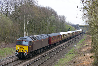 Class 57 No 57316+57315 at Oakenshaw Junction on 15 April 2016 with the 5Z39 10:16 Carnforth Steamtown - Ely Reception