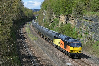 Class 60 No 60047 in Horbury Cutting on 26 April 2016 with the 6E32 08:40 Colas Ribble Rail - Lindsey Oil Refinery