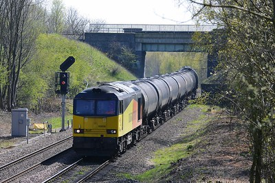 Class 60 No 60056 at Oakenshaw Junction on 21 April 2016 with the 6Z32 07:55 Lindsey Oil Refinery Colas - Colas Ribble Rail