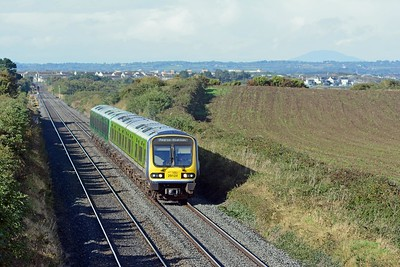 An hour later a pair of 29000 railcars on a local train from Drogheda to Dublin Pearse (formerly Westland Row)