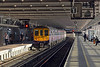 The Luton train pulls out, the rear unit still wearing First Capital Connect's City Lights livery. There's an electronic sign at Blackfriars which tells passengers how much electricity the photo-voltaic cells which line the station's roof generates. Enough for hundreds of thousands of cups of tea apparently.