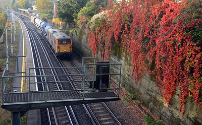 Running early the 3W90 RHTT passing a splendid virginia creeper next to Earlswood station.