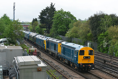 Class 20 No 20205/20142 at St Denys on 10 May 2016 in the consist of the 0M40 10:00 Swanage Railway Motala Gf - Kidderminster S.V.R. with 50035/D213/D182/5580