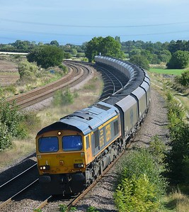 Class 66 No 66705 at Burton Salmon on 8 September 2016 with the 6E94 05:36 Carlisle N.Y. – Drax Power Station