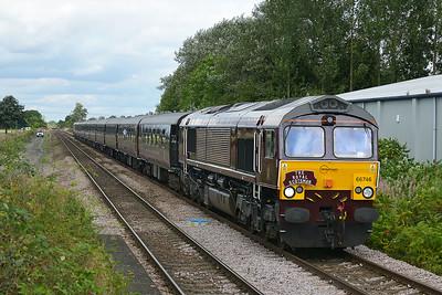 Class 66 No 66746+66743 at Sherburn-in-Elmet on 6 September 2016 with the 1Z36 12:35 Malton – York (via Milford Loop)