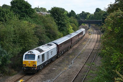 Class 67 No 67029+82146 in Horbury Cutting on 7 September 2015 with the 1Z05 09:43 Stockport – York