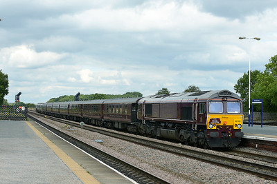 Class 66 No 66746+66743 at Church Fenton on 6 September 2016 with the 1Z36 12:35 Malton – York (via Milford Loop)