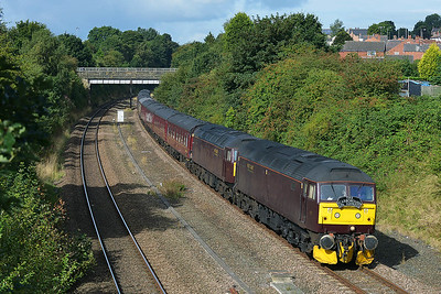 Class 47 No 47760/47237 in Horbury Cutting on 1 September 2016 with the 1Z25 06:55 Carnforth – Scarborough