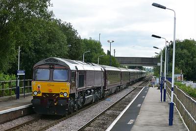 Class 66 No 66743+66746 at Sherburn-in-Elmet on 6 September 2016 with the 1Z36 12:35 Malton – York (via Milford Loop)