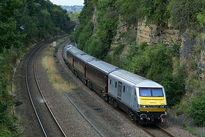 MK 3 DVT No 82146+67029 in Horbury Cutting on 7 September 2015 with the 1Z05 09:43 Stockport – York