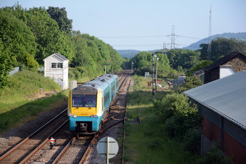175 110 was on the late running 15:10 Milford Haven to Manchester Piccadilly (21:01). It was 21 minutes late at Abergavenny and remained 21 minutes late for the remainder of the journey.