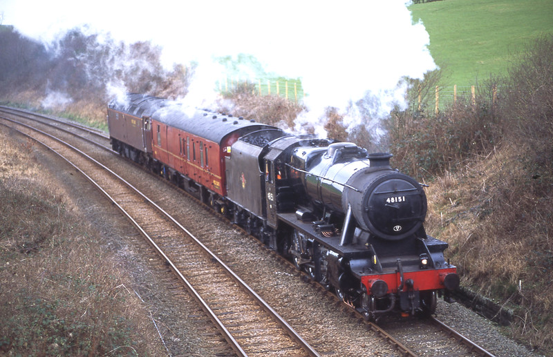 Testing, testing, one, two, clank...............<br /> Mr Smith's 8F 48151 with support coach and 47746 on the rear for insurance pass Keer Holme with an out and back test run from Steamtown to Hellifield, 28/1/2016.