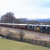 GBRF's Caledonian Sleeper liveried 73969 and 73968 take the climb passed Hardrigg en-route from Steamtown to Kilmarnock with the Royal Scotsman empty stock, 18/3/2016