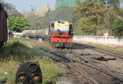 Not sure what this Alco powered train which left Mandalay at 16:00 was. It may have been a Myitkyina train as it contained both upper class sleepers and a restaurant car. The 14:10 to Myitkyina hadn't run, so may be this was it, either running late or retimed?