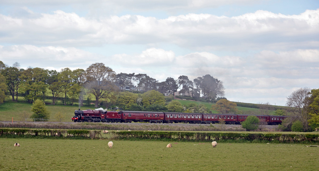 I was at Llanvihangel for the Grange-over-Sands to Bristol leg of the Great Britain steam railtour behind LMS Jubilee 5XP 4-6-0 45699 Galatea, wearing a crimson lake livery it never carried in BR days.