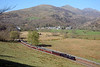 A general view of the railway and Beddgelert behind, you can just seen the top of Snowdon.