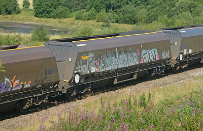 Like Freightliner and DBS, GBRf's coal hoppers have attracted the attention of grafitti 'artists'.