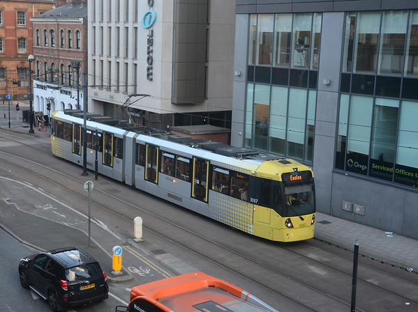 An Eccles bound tram leaving Piccadilly