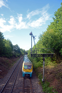In the opposite direction 175 006 arriving in Abergavenny on the 15:30 Manchester Piccadilly to Carmarthen.