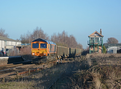 A new traffic flow from East Anglia. 66732 'GBRf the first decade, John Smith MD' on 6M52, sand from Norwich Trowse to Wellingborough.