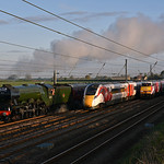 The Staggered procession approaching Beningborough sidings as the sun starts to rise.23/04/2017.