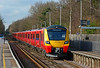 SWT brand new Desiro City 707003+005 are seen arriving at Sunningdale, with 5Q34 driver training working, heading for Staines up sidings 17/02/2017.<br /> The ongoing platform extension work to accommodate ten car trains can just be seen behind the eight car marker.