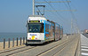 Kusttram 6011 is seen at Domein Raversijde in some beautiful afternoon conditions. On this section a pedestrian walkway with access to the beach is all that separates the trams from the North sea 28/03/2017.