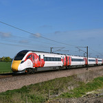 Virgin Azuma races south after attending the 4 Trains event at York.23/04/2017.