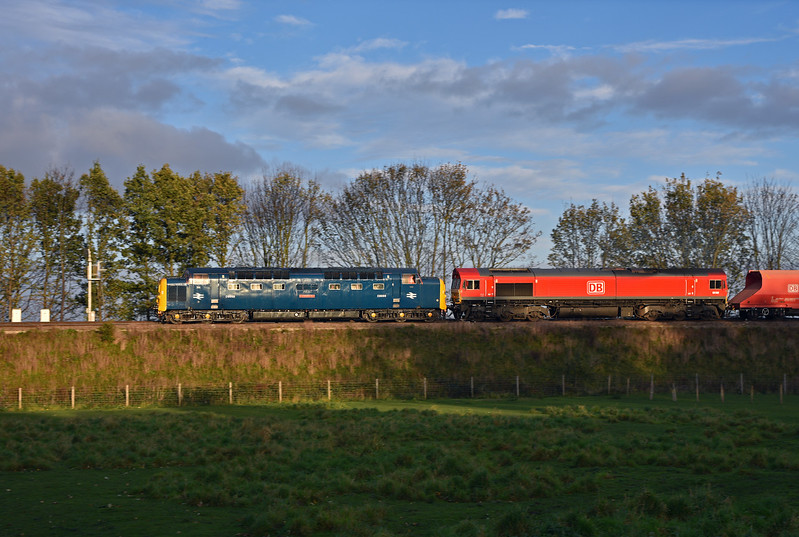 DELTIC 55009 in charge of 6Z55 15:32 Milford West Sidings to Neville Hill Up Sidings in lovely autumnal light.29/10/2017.