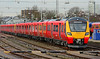 Brand new SWT Desiro City units 707003+004 are seen in Clapham yard awaiting testing and acceptance trials to begin 14/01/2017.
