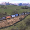 With a dusting of snow on the Howgills 90034 and 90037 descend passed Hardrigg with the Malcolm's, 24/3/2017.